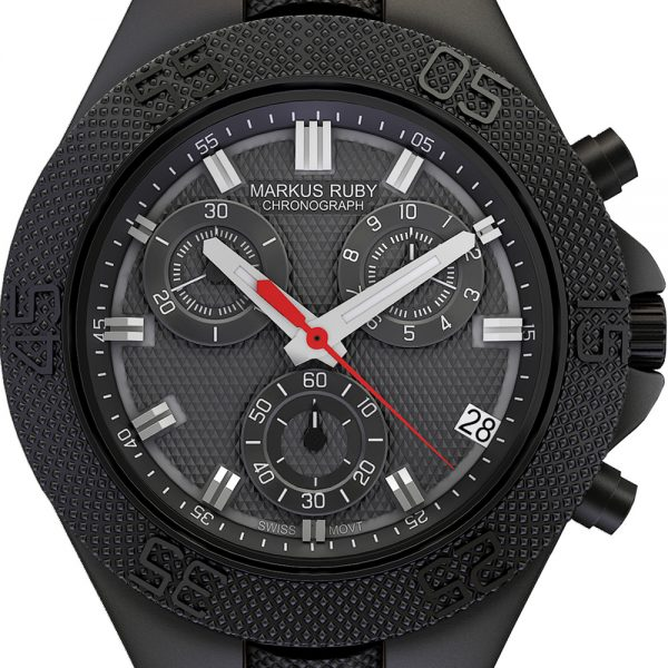 Markus Ruby Chronograph Black Steel Leather Band-26