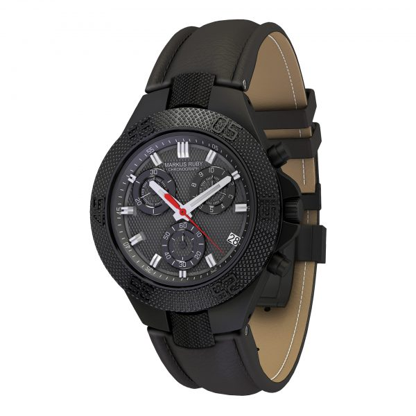 Markus Ruby Chronograph Black Steel Leather Band-100