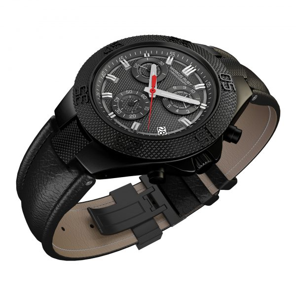 Markus Ruby Chronograph Black Steel Leather Band-98