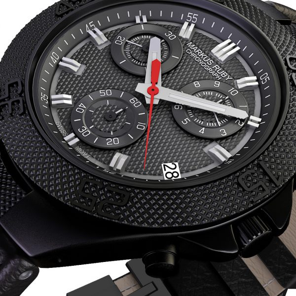 Markus Ruby Chronograph Black Steel Leather Band-25