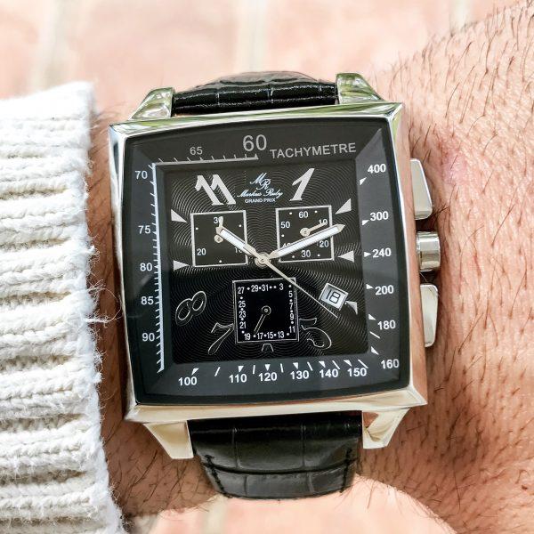 Grand Prix Chronograph Black Leather Band Black Dial-166