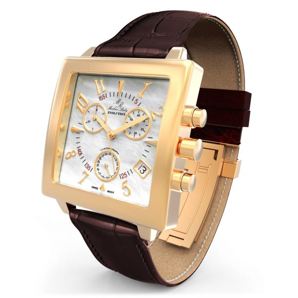 Evolution Chronograph Brown Leather White Mother Of Pearl Dial-337