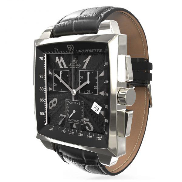 Grand Prix Chronograph Black Leather Band Black Dial-79
