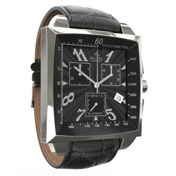 Grand Prix Chronograph Black Leather Band Black Dial-80