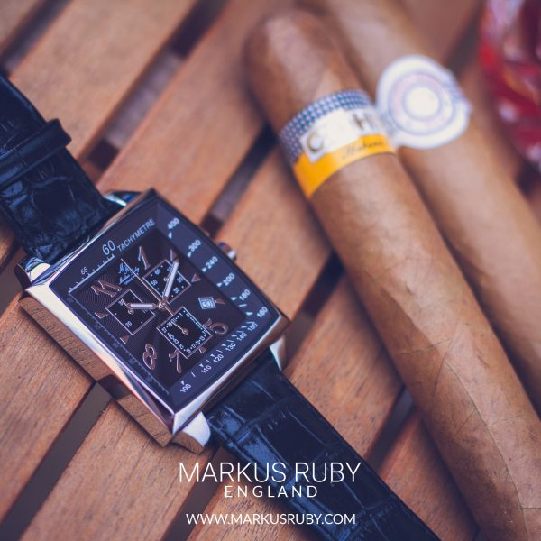Grand Prix Chronograph Black Leather Band Black Dial-132