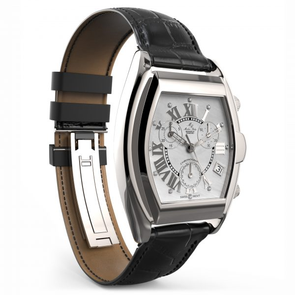 Monarch Chronograph Diamond Black Leather White Mother Of Pearl Dial-174