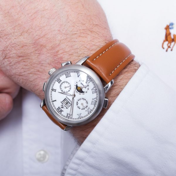 Moonphase Automatic Brown Leather White Dial-284