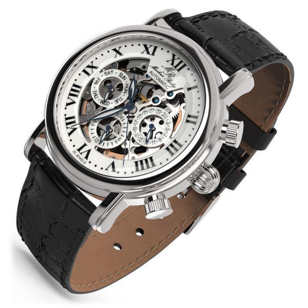 Skeleton Automatic Black Leather White Dial-231