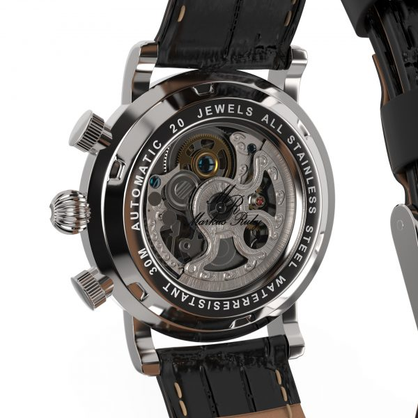Skeleton Automatic Black Leather White Dial-232