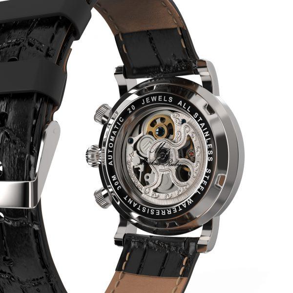 Skeleton Automatic Black Leather White Dial-233