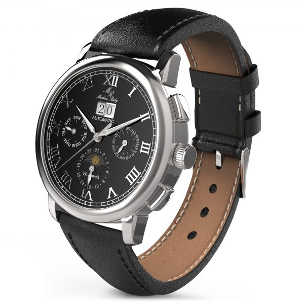 Moonphase Automatic Black Leather Black Dial-216