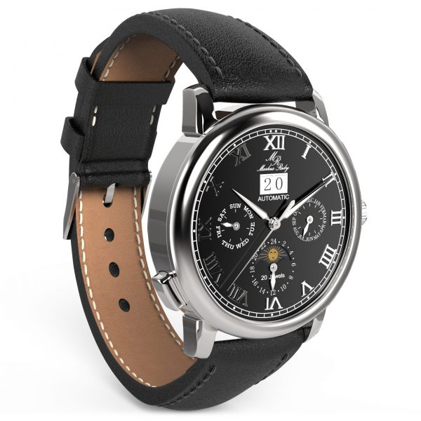 Moonphase Automatic Black Leather Black Dial-215