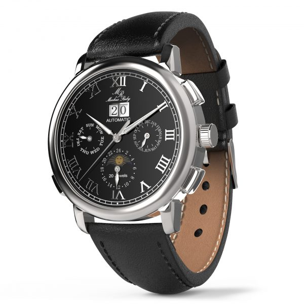 Moonphase Automatic Black Leather Black Dial-218