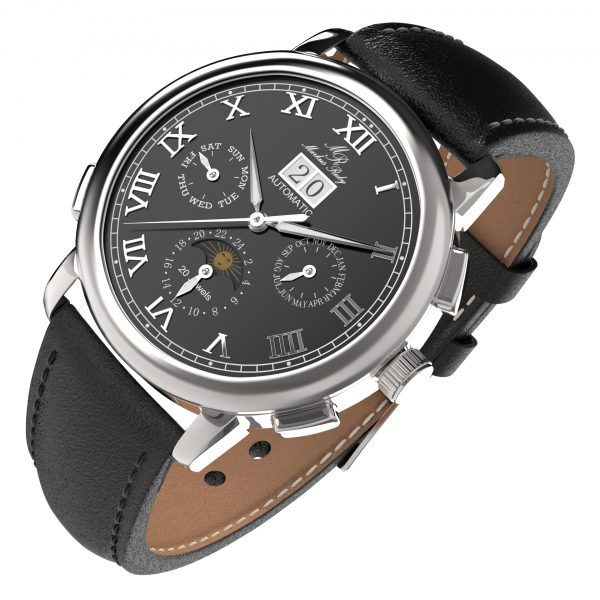 Moonphase Automatic Black Leather Black Dial-217
