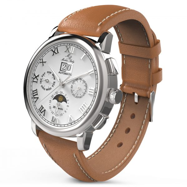 Moonphase Automatic Brown Leather White Dial-203