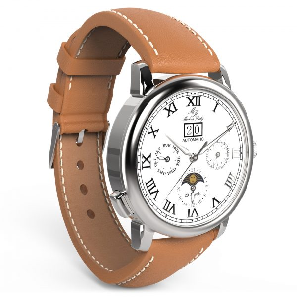 Moonphase Automatic Brown Leather White Dial-202