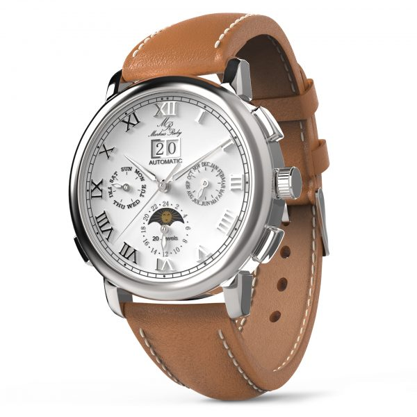 Moonphase Automatic Brown Leather White Dial-201