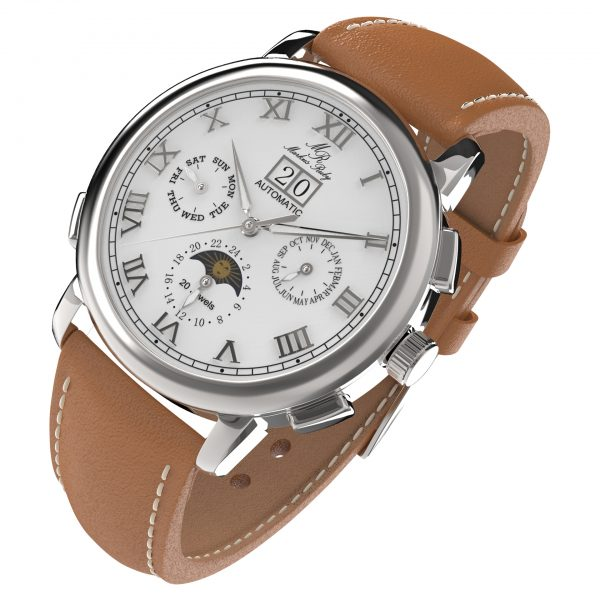 Moonphase Automatic Brown Leather White Dial-204