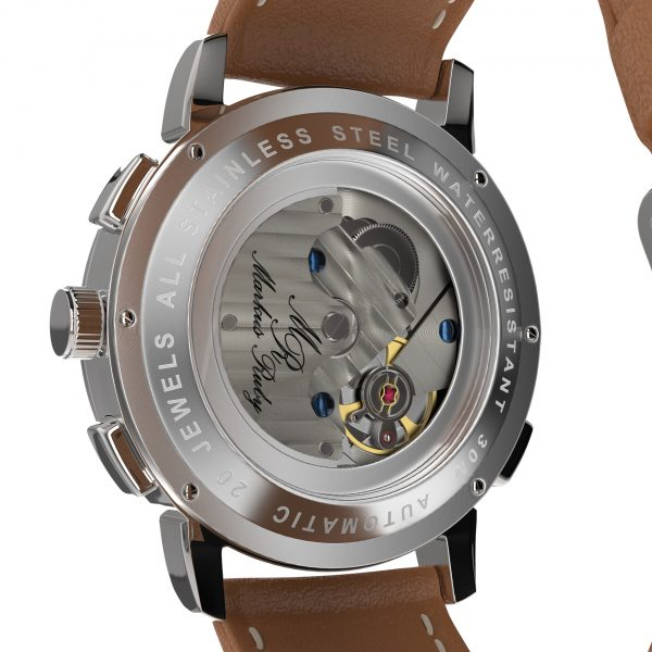Moonphase Automatic Brown Leather White Dial-205