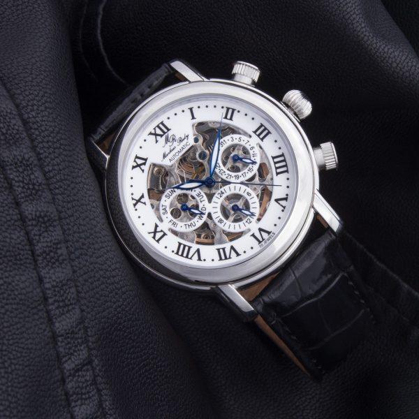 Skeleton Automatic Black Leather White Dial-283