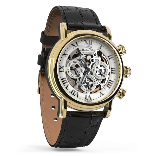 Skeleton Automatic Black Leather White Dial Gold Edition-244