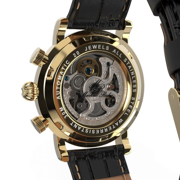 Skeleton Automatic Black Leather White Dial Gold Edition-242