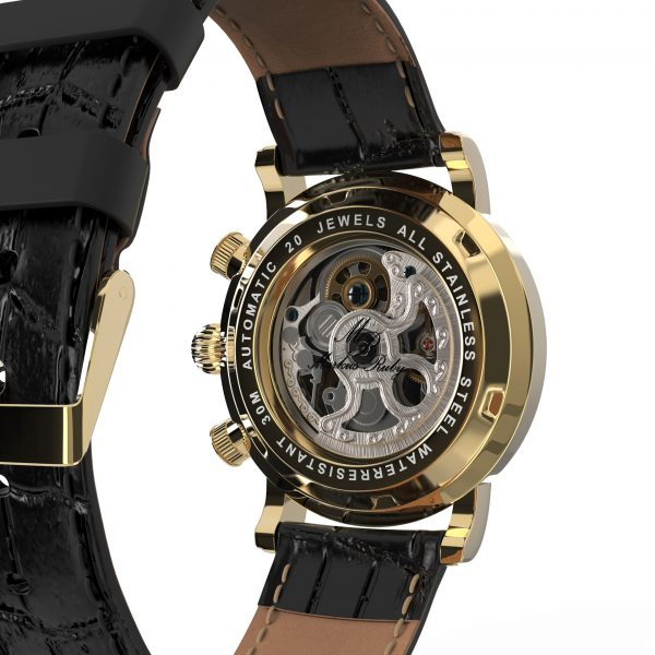 Skeleton Automatic Black Leather White Dial Gold Edition-245