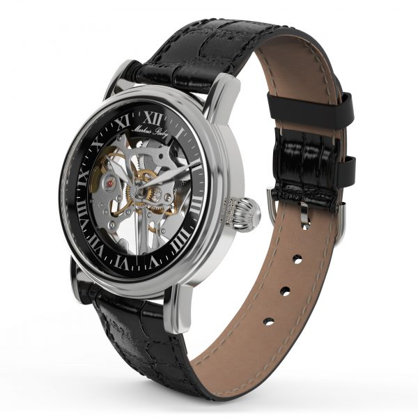 Skeleton Mechanical Black Leather Black Dial-256