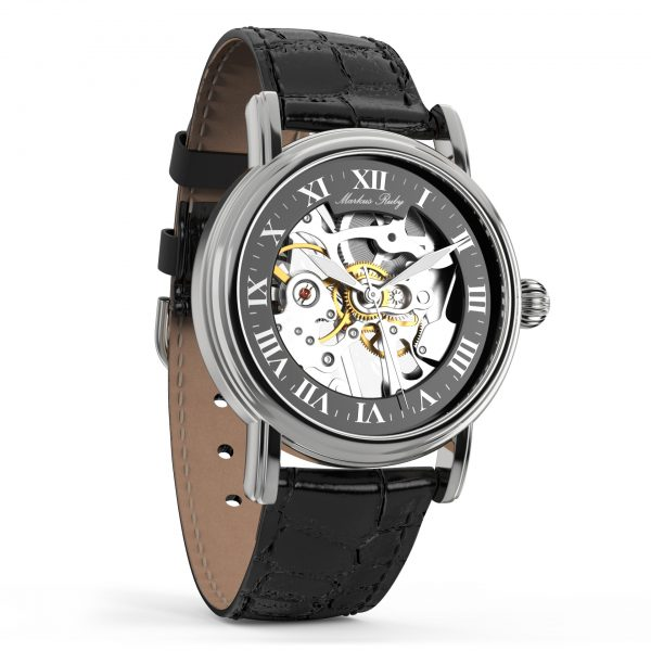 Skeleton Mechanical Black Leather Black Dial-253