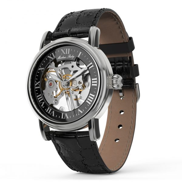 Skeleton Mechanical Black Leather Black Dial-255