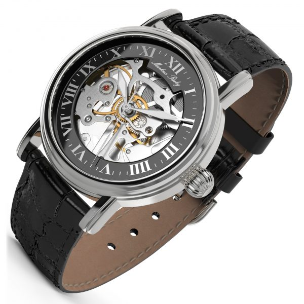 Skeleton Mechanical Black Leather Black Dial-254