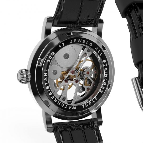 Skeleton Mechanical Black Leather Black Dial-257