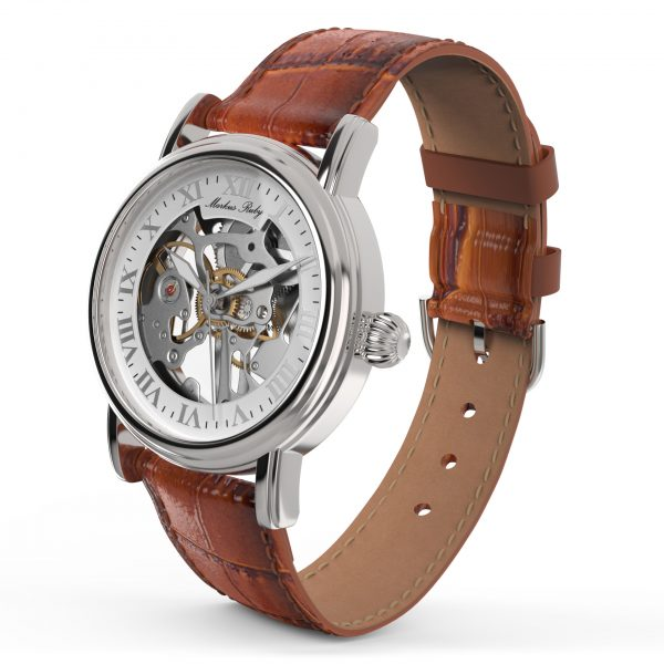 Skeleton Mechanical Brown Leather White Dial-267