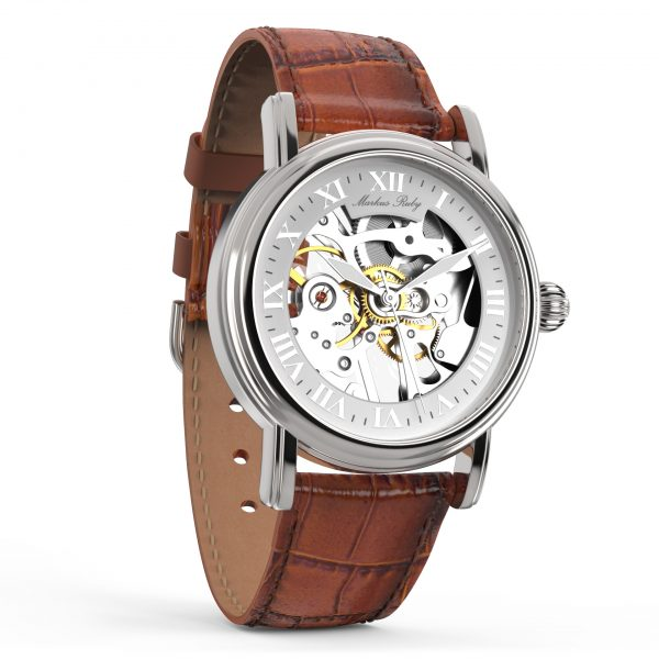 Skeleton Mechanical Brown Leather White Dial-268