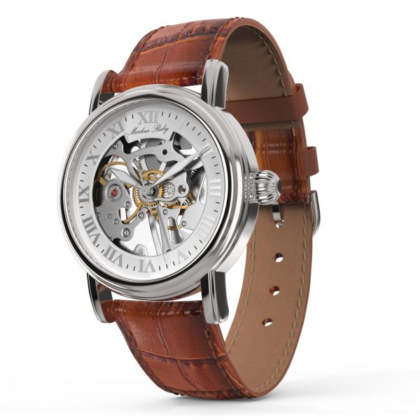Skeleton Mechanical Brown Leather White Dial-266