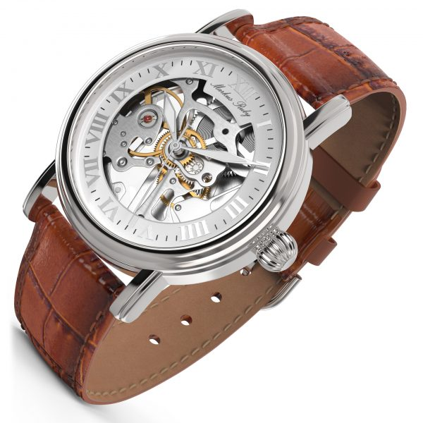 Skeleton Mechanical Brown Leather White Dial-269