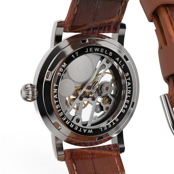 Skeleton Mechanical Brown Leather White Dial-270