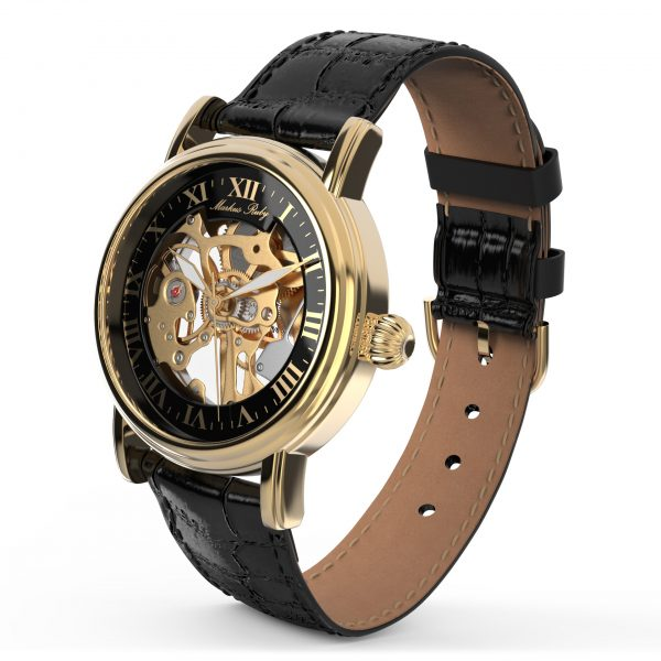 Skeleton Mechanical Black Leather Black Dial Gold Edition-280
