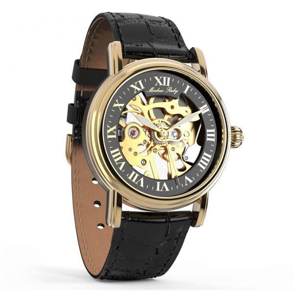 Skeleton Mechanical Black Leather Black Dial Gold Edition-277