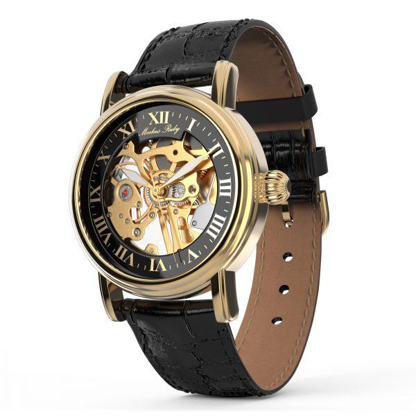 Skeleton Mechanical Black Leather Black Dial Gold Edition-279