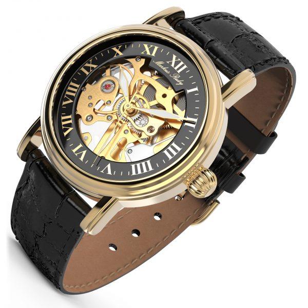 Skeleton Mechanical Black Leather Black Dial Gold Edition-281