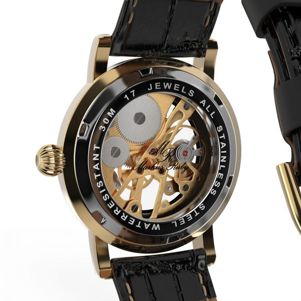Skeleton Mechanical Black Leather Black Dial Gold Edition-282